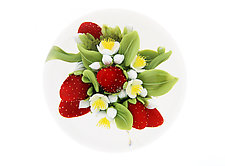 Strawberry Double Encased Paperweight by Clinton Smith (Art Glass Paperweight)