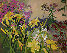 Phlox and Lilies in the Garden by Lila Bacon (Acrylic Painting)