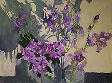 Rhododendron Iris and Shadows by Lila Bacon (Acrylic Painting)