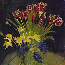 Hyacinths, Tulips, Daffodils by Lila Bacon (Acrylic Painting)