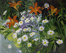 Lilies and Daisies in the Summer Garden by Lila Bacon (Acrylic Painting)