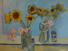 Sunflowers and Gladiola by Lila Bacon (Acrylic Painting)