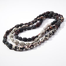 Tie-Beads Long Necklace in Black Gray by Mieko Mintz (Silk Necklace)