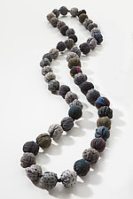 Long Kantha Necklace in Gray by Mieko Mintz (Silk Necklace)