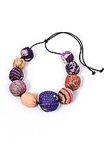 Silk Kantha Necklace #5 by Mieko Mintz  (Silk Necklace)