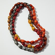 Tie-Beads Long Necklace in Coral by Mieko Mintz (Silk Necklace)
