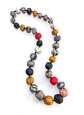 Vintage Silk Long Necklace in Gold & Black by Mieko Mintz (Silk Necklace)