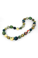 Silk Kantha Necklace #13 by Mieko Mintz  (Silk Necklace)
