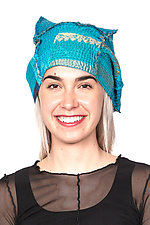 Kantha Beret #4 by Mieko Mintz  (One Size, Cotton Hat)