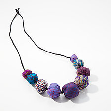 Purple & Blue Convertible Necklace by Mieko Mintz  (Silk Necklace)