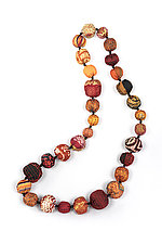 Silk Kantha Necklace #19 by Mieko Mintz  (Silk Necklace)