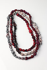 Tie-Beads Long Necklace in Merlot by Mieko Mintz (Cotton Necklace)