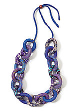 Blue Silk Chain Necklace by Mieko Mintz (Silk Necklace)