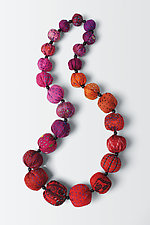 Red Mix Vintage Silk Kantha Necklace by Mieko Mintz (Silk Necklace)