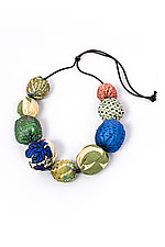 Silk Kantha Necklace #4 by Mieko Mintz  (Silk Necklace)