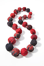 Vermillion & Black Kantha Necklace by Mieko Mintz  (Silk & Cotton Necklace)