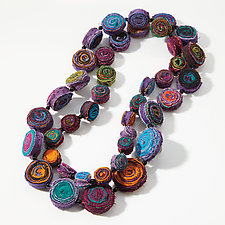 Multicolored Eddy Long Necklace by Mieko Mintz  (Cotton Necklace)