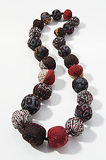 Black Mix Silk Crepe Kantha Necklace by Mieko Mintz  (Silk Necklace)