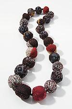 Black Mix Silk Crepe Kantha Necklace by Mieko Mintz (Silk Necklace)