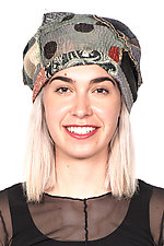 Kantha Beret #5 by Mieko Mintz  (One Size, Cotton Hat)