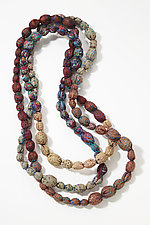 Tie-Beads Long Necklace in Brown by Mieko Mintz  (Cotton Necklace)