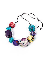 Silk Kantha Necklace #3 by Mieko Mintz  (Silk Necklace)