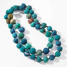 Long Vintage Kantha Necklace in Teal by Mieko Mintz (Silk Necklace)