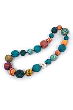 Silk Kantha Necklace #10 by Mieko Mintz  (Silk Necklace)