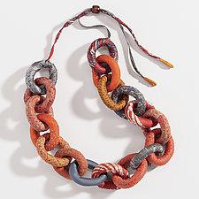 Orange Silk Chain Necklace by Mieko Mintz (Silk Necklace)