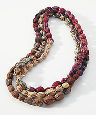 Tie-Beads Long Necklace in Brown & Black by Mieko Mintz (Cotton Necklace)