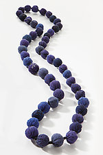 Long Kantha Necklace in Blue by Mieko Mintz (Silk Necklace)