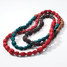Tie-Beads Long Necklace in Teal Mix by Mieko Mintz (Silk Necklace)