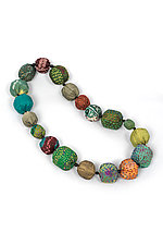 Silk Kantha Necklace #9 by Mieko Mintz  (Silk Necklace)