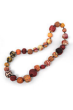 Silk Kantha Necklace #14 by Mieko Mintz  (Silk Necklace)