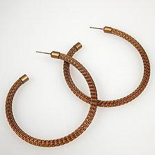 Thin Wireknit Hoop Earrings in Antique Brass by Sarah Cavender (Brass Earrings)