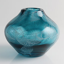 Short Mussola Vase by Frost Glass (Art Glass Vase)