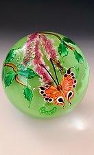 Orange Butterfly on Green by Mayauel Ward (Art Glass Paperweight)