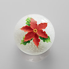 Poinsettia Paperweight by Mayauel Ward (Art Glass Paperweight)