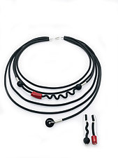 Red Coral & Black Onyx Necklace by Dagmara Costello (Rubber & Stone Necklace)