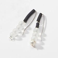 Drops of Glass Earrings by Dagmara Costello (Pearl, Art Glass & Rubber Earrings)