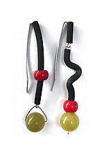 Lemon Jade and Coral Earrings by Dagmara Costello (Rubber & Stone Earrings)