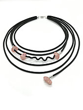 Pink Crystal Necklace by Dagmara Costello (Rubber & Stone Necklace)