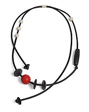 Red Dot & Disc Necklace by Dagmara Costello (Rubber Necklace)