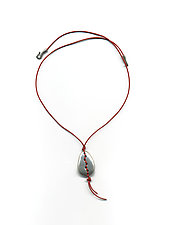 Woven Stone Necklace by Kathleen Lamberti (Silver & Leather Necklace)