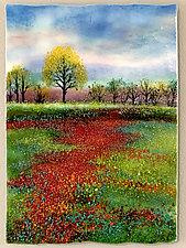 Summer Poppy Fields by Anne Nye (Art Glass Wall Sculpture)