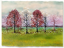 Springtime Orchard by Anne Nye (Art Glass Wall Sculpture)