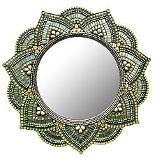 Starlight Mandala, Sweet Fern by Angie Heinrich (Art Glass Mirror)