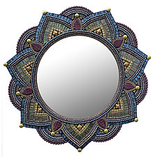 Starlight Mandala, Plum by Angie Heinrich (Art Glass Mirror)