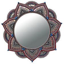 Starlight Mandala, Blush by Angie Heinrich (Art Glass Mirror)