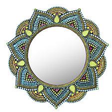 Starlight Mandala, Lime Aqua by Angie Heinrich (Art Glass Mirror)